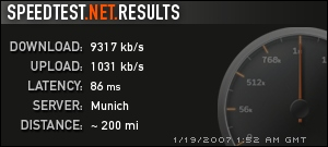 R�sultat speedtest